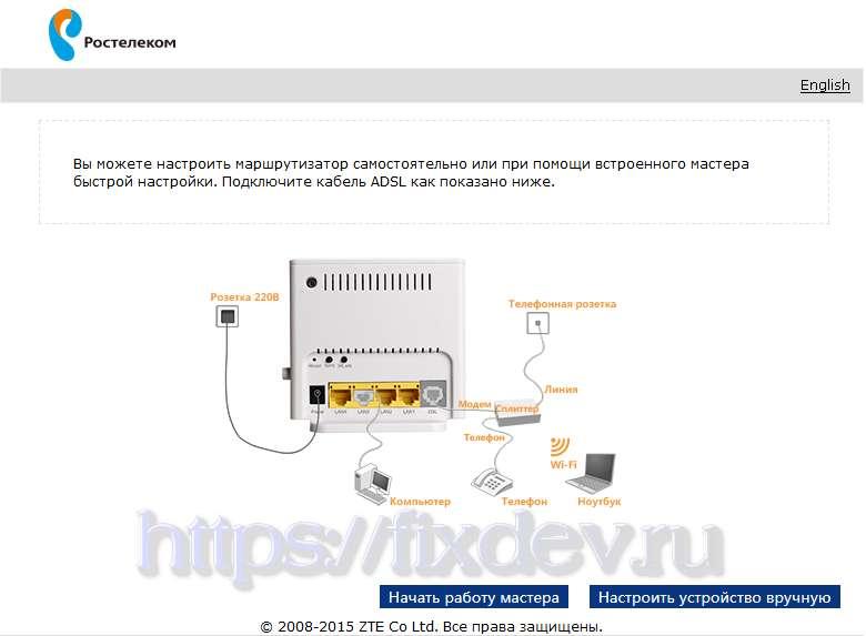 ZTE ZXHN H108N_Настроить вручную